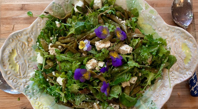 Shallot and Sugar Snap Peas Stir Fry Salad with Dijon Honey Mustard Vinaigrette