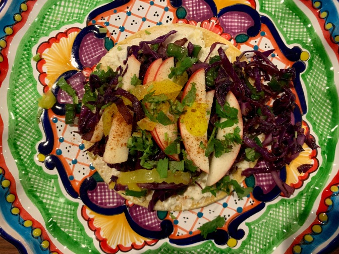Purple Cabbage Tacos with Herbed Cream Cheese and Apples