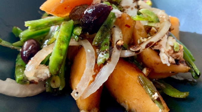 Cantaloupe and Sugar Snap Peas Salad with Feta and Pistachios