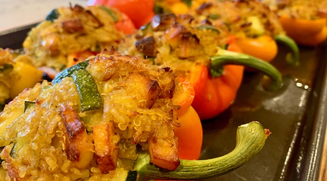 Indian Spiced Rice, Paneer and Zucchini Stuffed Peppers