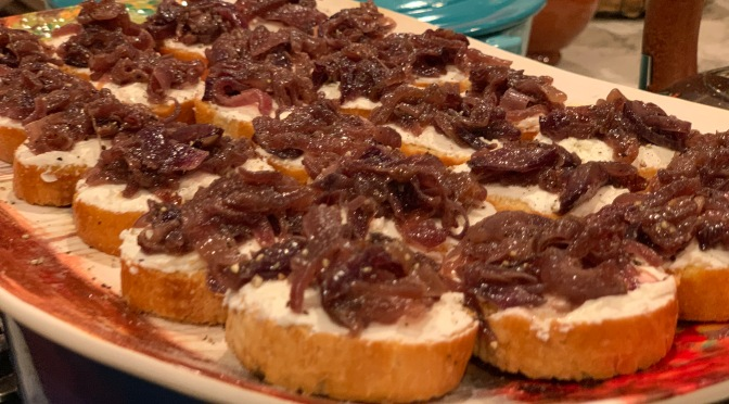 Toasted Baguette with Goat Cheese and Caramelized Onions
