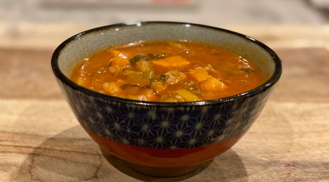 Sweet Potato White Bean Minestrone Soup