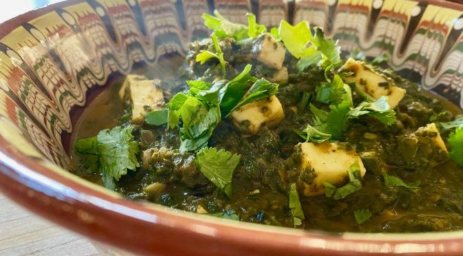 Saag Sabjee with Paneer.  Greens Curry with Paneer